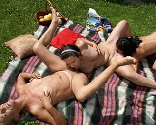 Outside old and young lesbian threesome